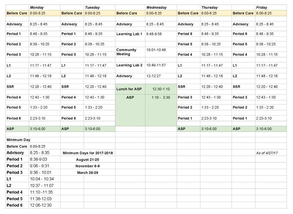 2017-18 OUMS Bell Schedule